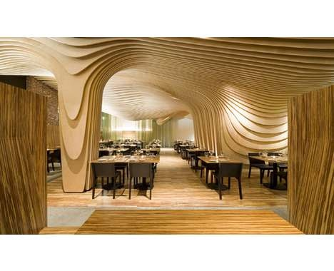 Wooden Wave Design Restaurant interior design architecture Wooden Wave Design Restaurant interior design architecture Wooden Wave Design Restaurant interior design architecture