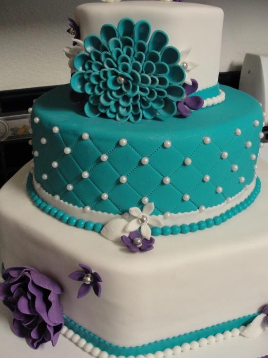 Teal Flower Cake