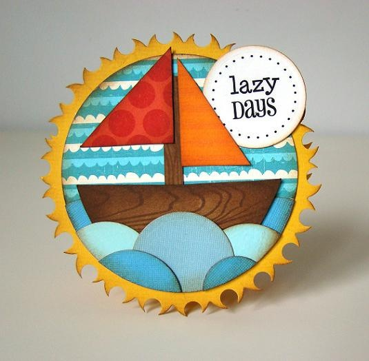 beautiful handmade card: lazy days by janeB74, via Flickr ... round card of die cuts ... sailboat ...  luv the bold colors and circle sea ...