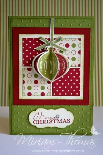 Stampin' Up! ornament-punch-christmas-card by Miriam Thomas