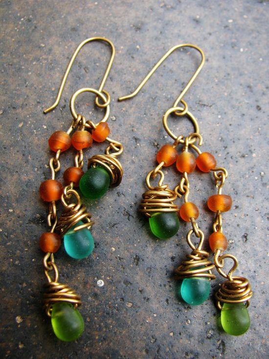earrings (Handmade Wire Wrapped Glass Teardrop Beads Brass Orange)