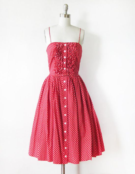 vintage 50s red and white star print dress