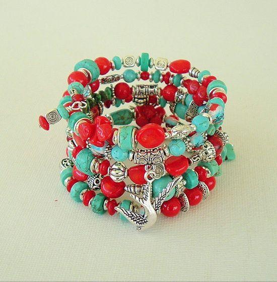 Boho Southwest Bracelet Cowgirl Turquoise Jewelry by BohoStyleMe