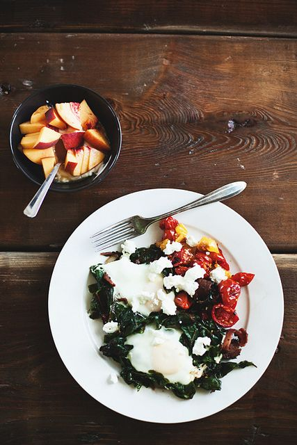 eggs with chard, roasted tomatoes, and goat cheese