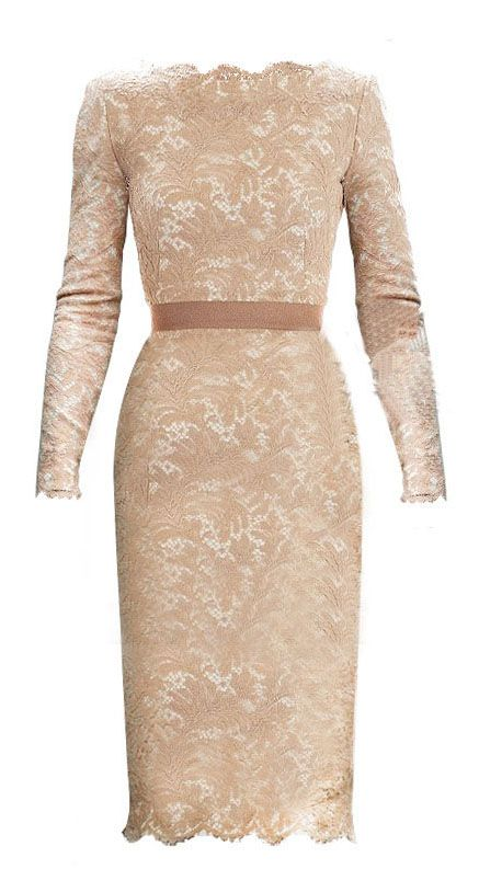 Champagne Long Sleeve Floral Lace Scalloped Hem Dress >> Beautiful and only $40!