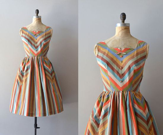 vintage 50s dress / cotton 1950s dress / Carousel by DearGolden, $224.00