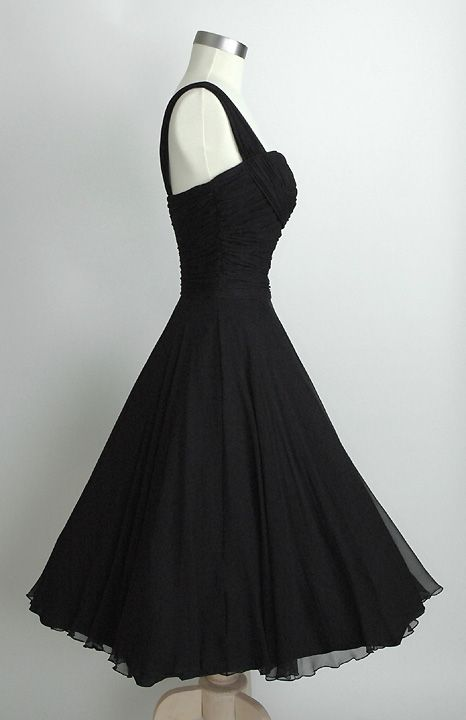 HEMLOCK VINTAGE CLOTHING : Saks Fifth Avenue Ruched Chiffon 1950s Dress
