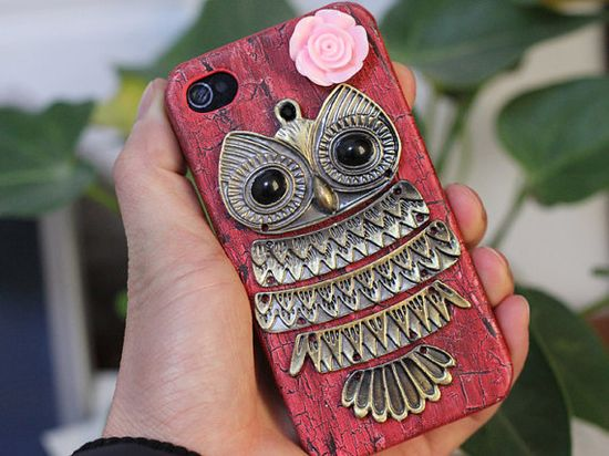 I really want this!     Antique Brass Owl And Pink Resin Flower Hard Case by moonboat, $12.99