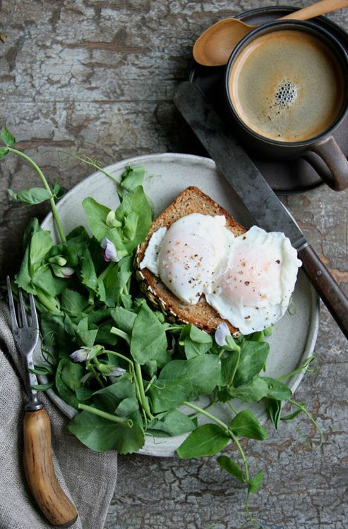 // eggs & pea shoots