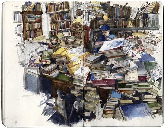 """Wil Freeborn (flickr). Sketch of Voltaire & Rousseau bookstore. """"Books are everywhere here, in manic lopsided piles so you have to dodge people (its always quite busy) and try not to bump into and knock over any books."""""""