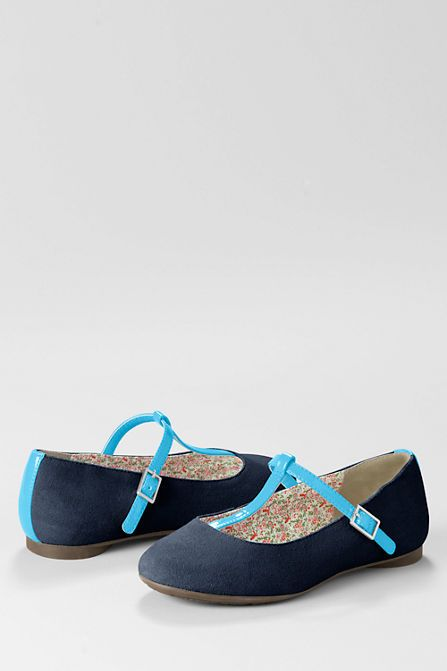 Kailey T-strap Ballet Shoes, navy suede and aqua patent. Best girls shoes ever (on sale for $15!)