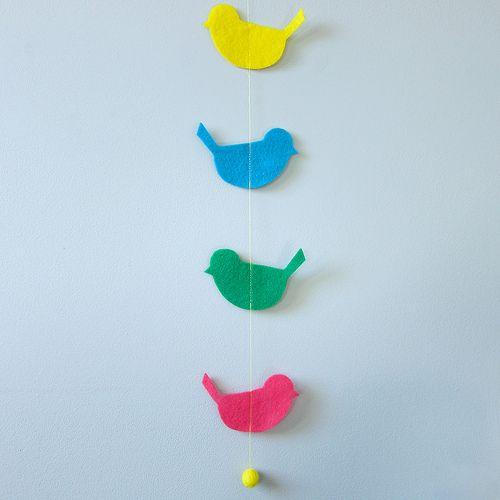 ATELIER CHERRY: Móbile de passarinho em feltro