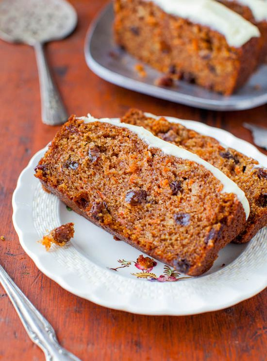 Carrot Cake Loaf with Cream Cheese Frosting. #food #cakes #loaves #Easter #desserts