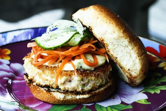 Asian Salmon Burger with Wasabi Mayo