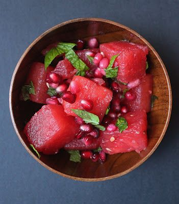 Summer salad - watermelon, pomegranate, mint, lime.