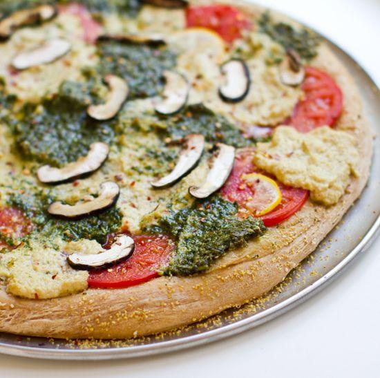 """Pesto Cashew Ricotta #Vegan #Pizza. with homemade lemon garlic vegan """"ricotta cheese."""""""