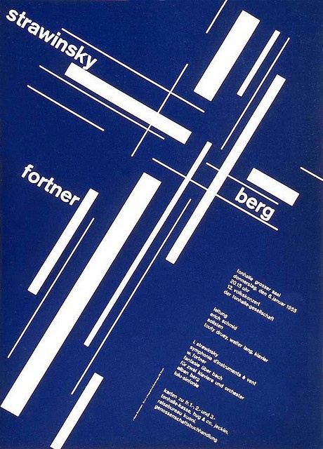 Joseph Müller Brockman 1955 design in the series for concert posters for the Tonhalle Gesellschaft Zürich. This is one of the first posters in a series that he designed for the Tonhalle Gesellschaft Zürich that truly exemplified the New Graphic Design approach.