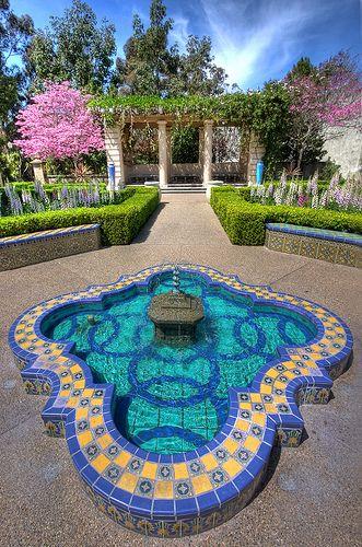 Courtyard at Alcazar Garden Balboa Park in San Diego, California. via flickr