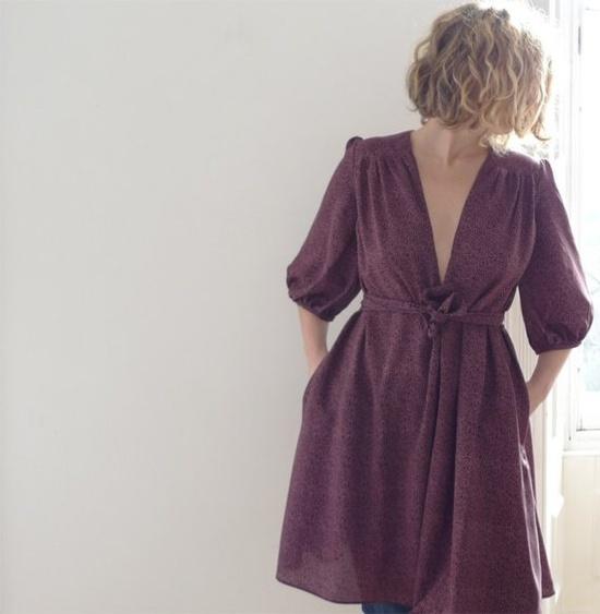purple silk crepe dress ~ 13Threads