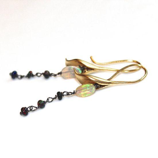 Opal Earrings Calla Lily Earrings Flower Jewelry Opal by FizzCandy #opal #earrings #callalily #flower #fizzcandy #jewelry