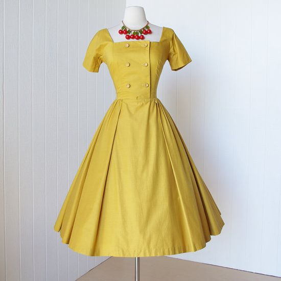 vintage 1950's dress ...classic JONATHAN LOGAN golden double breasted squared neckline full skirt pin-up party dress