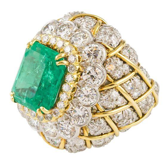 DAVID WEBB  Emerald Diamond Gold and Platinum Ring
