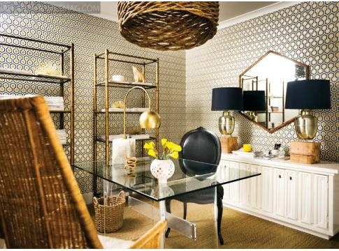 design by Lee and Kevin Kleinhelter. Office space with patterned wall paper white buffet matching lamps matching brass etagere. navy yellow white.