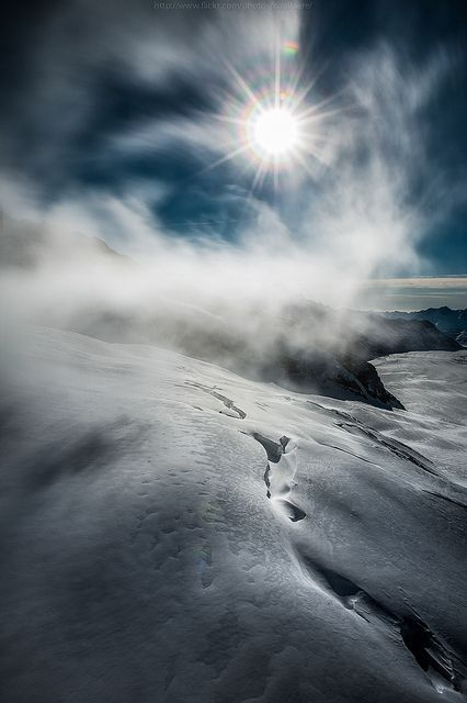 Sunshine over snowy land, Switzerland
