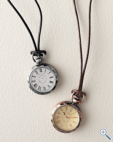"""Pendant Watch by TOKYObay: Striking alone or layered with other pieces. Brass with antiqued plating, available in bronze or gunmetal. 1"""" face and 26"""" leather cord. #Watch #Pendant_Watch #Jewelry #TOKYObay"""