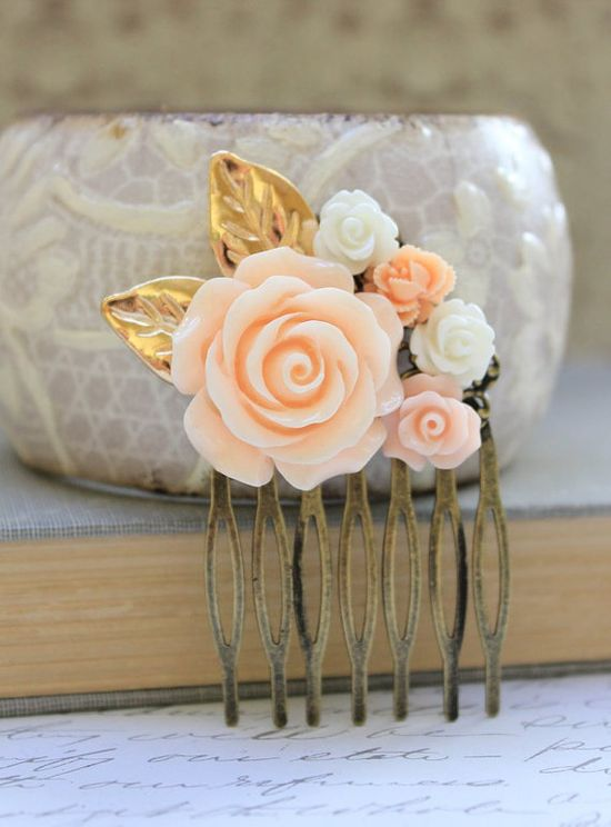 Peach Rose Comb Floral Collage Hair Accessories by #apocketofposies