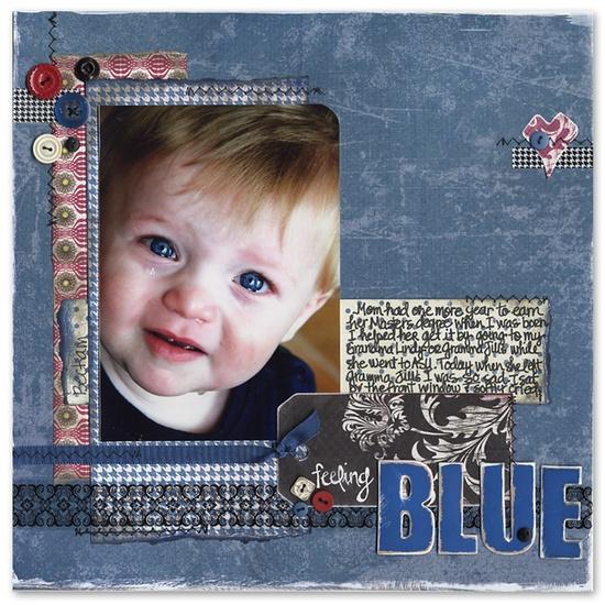 Feeling Blue - Scrapbook.com - #scrapbooking #layouts #americancrafts #basicgrey #rangerink #pinkpaislee #wermemorykeepers