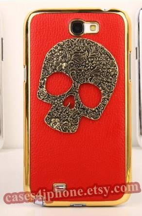 leather case samsung galaxy note case Samsung cases Galaxy Samsung Galaxy Note 2 II N7100 Skin Case Studded case pearl samsung cover. $14.95, via Etsy.