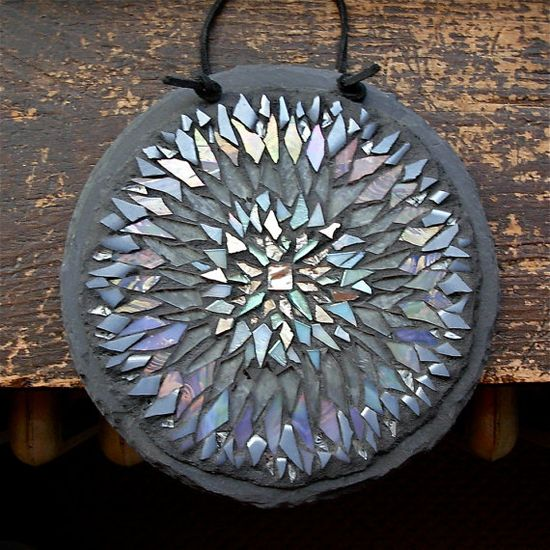 Silver Snowflake Mandala Mosaic by Margaret Almon of Nutmeg Designs