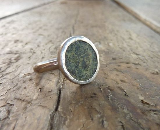 Ancient Roman coin ring Statement ring sterling silver by anakim, $135.00