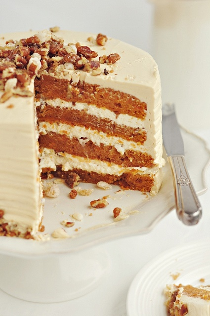 Immensely lovely Autumn Delight Layer Cake. #fall #autumn #cake #frosting #icing #nuts #food #dessert #baking #birthday