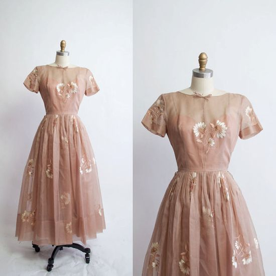 Vintage 1950s Party Dress / Chiffon Dress / by GingerRootVintage, $98.00