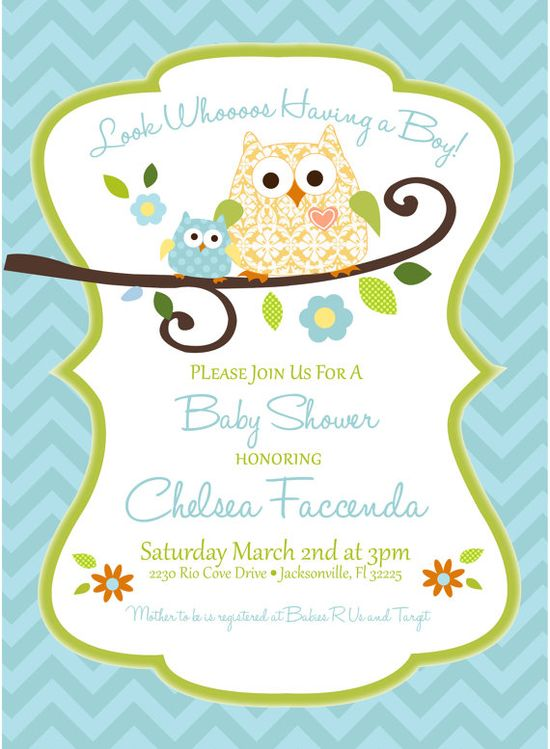 Baby Boy Owl Invitation