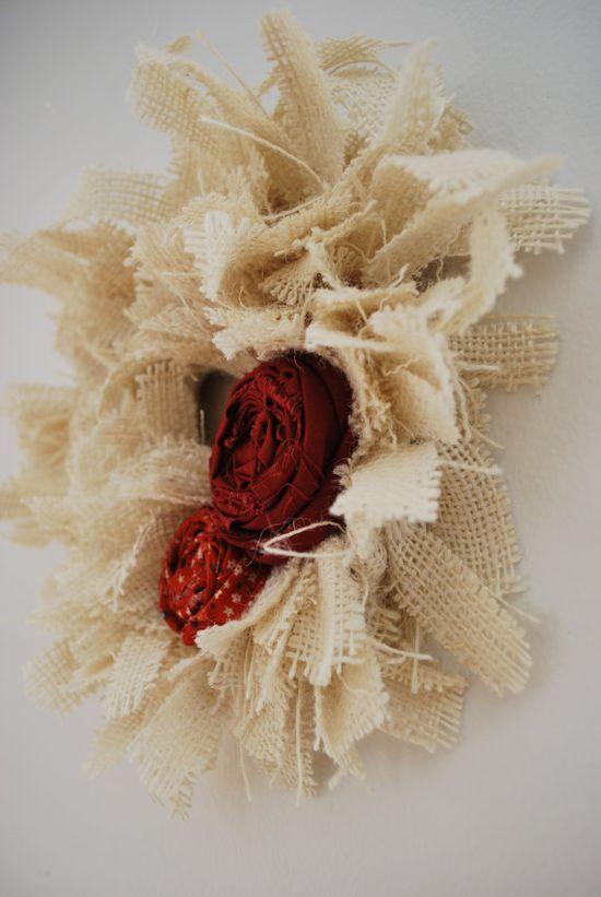 Burlap Wreath with Handmade Flowers on #handmade gift bags #handmade barbie house #handmade fishing lures #handmade birthday card #handmade knives