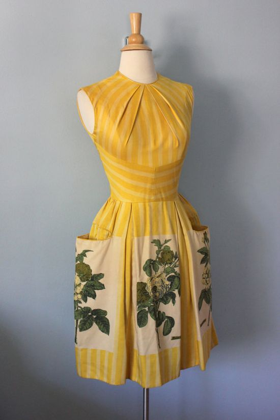 Day dress c.1950s #floral #dress #1950s  #vintage #frock #retro #sundress #floralprint  #romantic #feminine #fashion