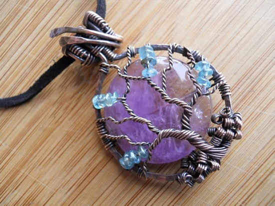 Tree of Life Pendant Lavender Amethyst and Sea by OurFrontYard, $37.77
