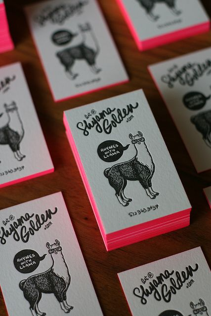 cute letterpressed business cards :: shayma golden