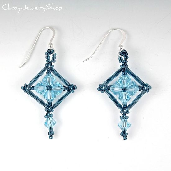 Beaded Earrings: Swarovski Crystal, Seed Beads, and Bugle Beads Woven into Diamond-Shaped Dangle Earrings in Light Aqua and Gray Blue.