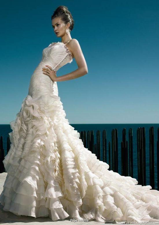 ruffle wedding gown
