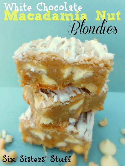 White Chocolate Macadamia Nut Blondies-  my favorite cookie in bar form! SixSistersStuff.com #dessert #blondies