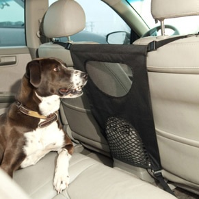 Pet Travel Barrier Did you know that unrestrained pets cause more than 30,000 auto accidents each year? This barrier keep pets safe in the back seat and decrease distractions while driving.