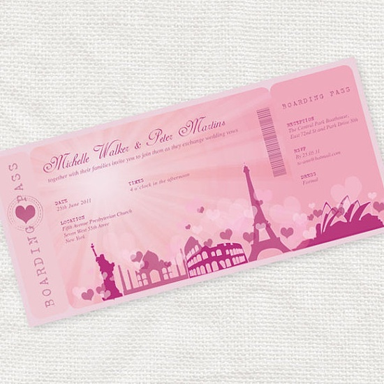 magically romantic boarding pass invitation