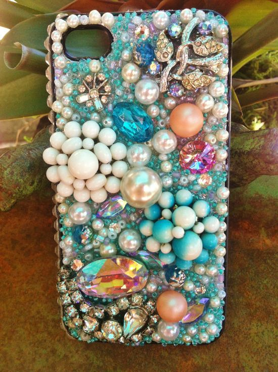 Gorgeous Aquamarine iPhone 4/4s Case with pearls by Kianaskases, $72.00