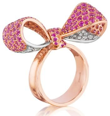 pink sapphire and diamond bow ring in rose and white gold.