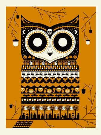 Halloween Owl Orange #owl #halloween #print #art