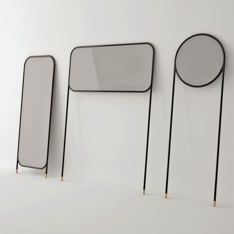 Mirrors by La Mamba for Omelette-ed: The series of mirrors are designed to lean against a wall, supported on long tubular legs with cork feet.